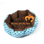 Comfy Kennel Dog Bed: Light Blue With Black Polka Dots