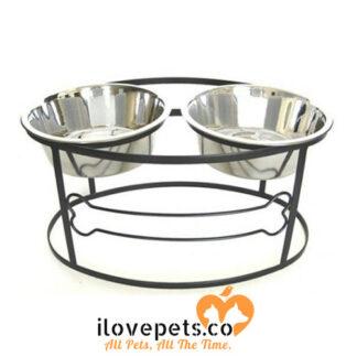 raised double small black dog bowl