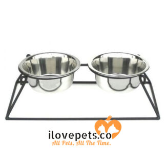 Pyramid Elevated Double Dog Feeder small white